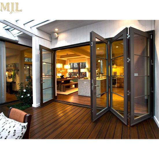 China Four Glass Panel Wood Aluminum Sliding Bifold Door For