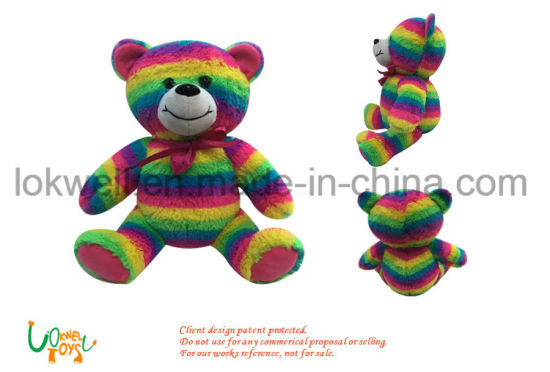 Colorful Plush Fur Bear Toy with Electronic LED Lighting pictures & photos