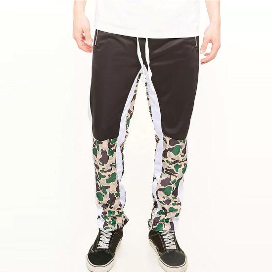 927b00169 Custom Contrast Stripe Mens Drawstring Polyester Printing Camo Track Pant