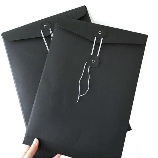 China Custom Design A4 Printing Black Kraft Paper Packaging Envelope