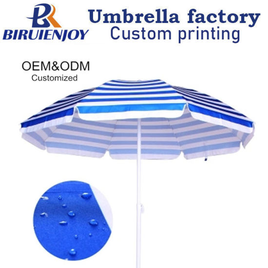 Custom Made Printing 170g Polyester Promotional Advertising Outdoor Sun Parasol Beach Umbrella