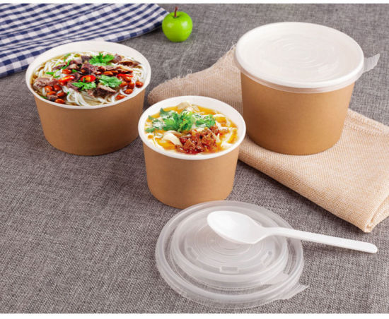 Kraft Paper Soup Bowl Disposable Food Bucket Ice Cream Paper Cup Round Dessert Porridge Takeaway Packaging Bowl with Cover