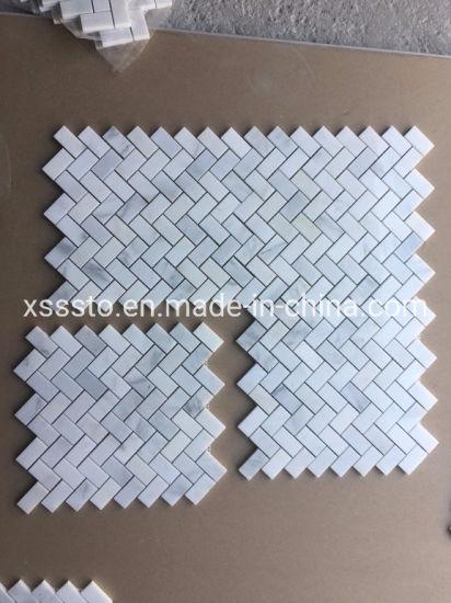 Cheap Chinese Eastern White Marble Mosaic Tiles Herringbone