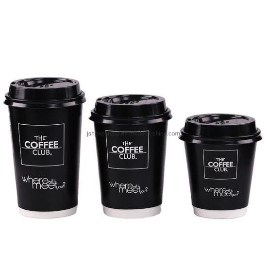 OEM Custom Logo High Quality Biodegradable 8oz 10oz 12oz 16oz Double Wall Paper Coffee Cup