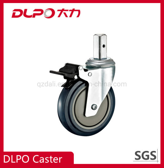 Dlpo 125mm Zinc-Plated Squace Solid Stem Lockable Wheel Castor with Nylon Brake