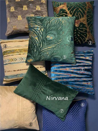 Cut Velvet Polyester Sofa Cushions Color Pillows Home Decorative Cushions