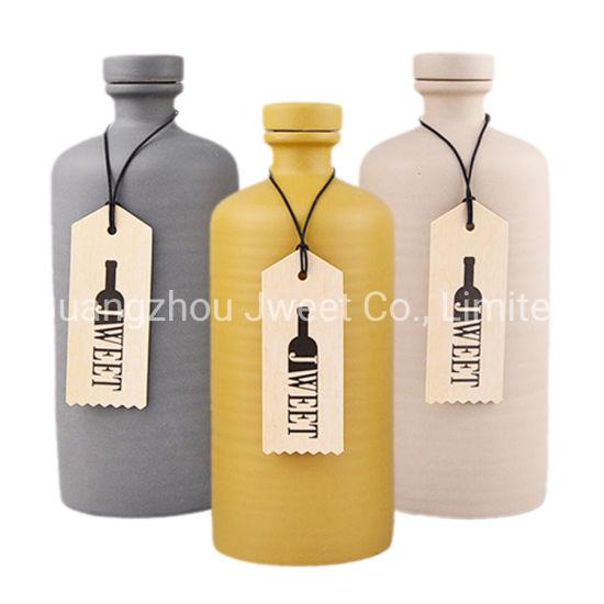 Custom Empty Cork Sealed Spirit Tequila Ceramics Bottle
