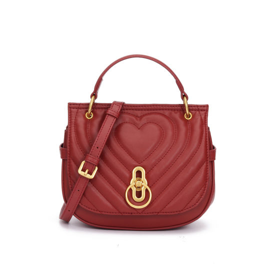 Two Colors New Design Leather Lady Saddle Handbag