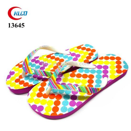 Colorful Pattern PVC Strap Custom Slippers OEM Printing Girls Rubber Flip Flops Wholesale