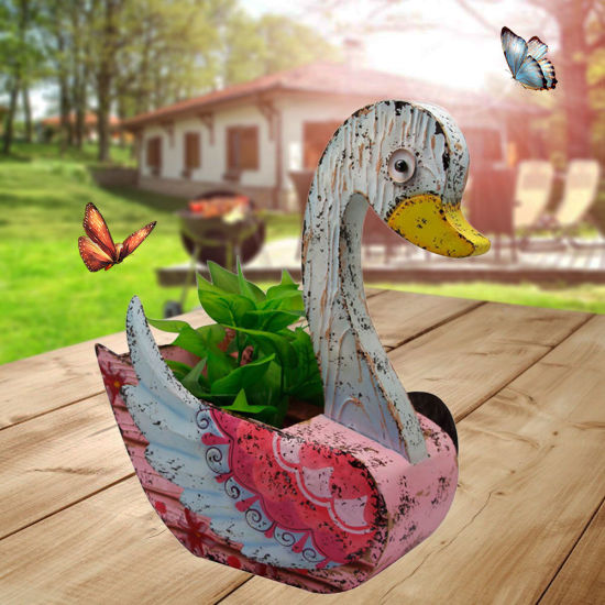 Personalized Handmade Color Metal Animal Goose Shaped Flower Pot for Desktop Decoration