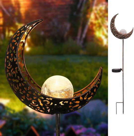 Outdoor Moon Crackle Glass Globe Stake Waterproof LED Garden Metal Stake Solar Lights for Lawn Patio Courtyard