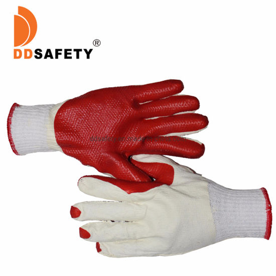 13 Gague Polyester Cotton Red Rubber Coated Safety Gloves