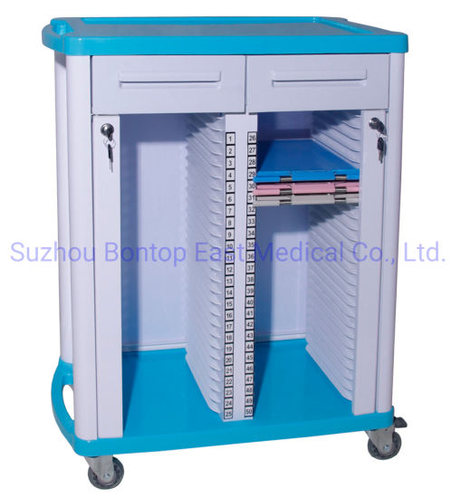High Quality OEM ODM ABS Patient File Record Trolley Medical Case History Chart Recorder Trolley/Cart (50 case)