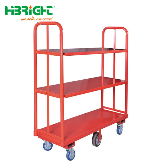 3 Layer Grocery Stocking U Shape Boat Cart for Warehouse Use
