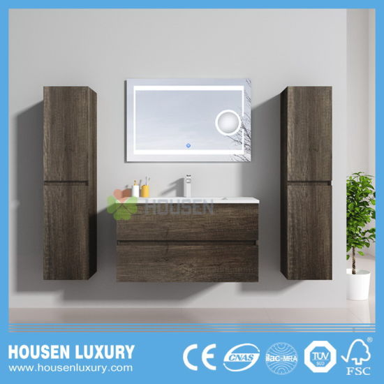 Customized Bathroom Vanities with Double Side Cabinets and Magnifying Glass HS-B1106-900