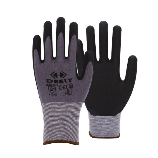 15 Gauge Grey Spandex Knit with Black Sandy Nitrile Coated Glove