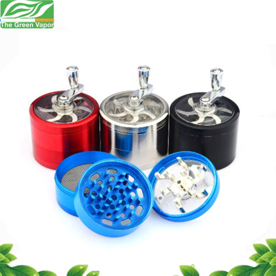 Black Blue Red 3 Layers Zinc Alloy Herb Grinder with Logo for Smoking Used