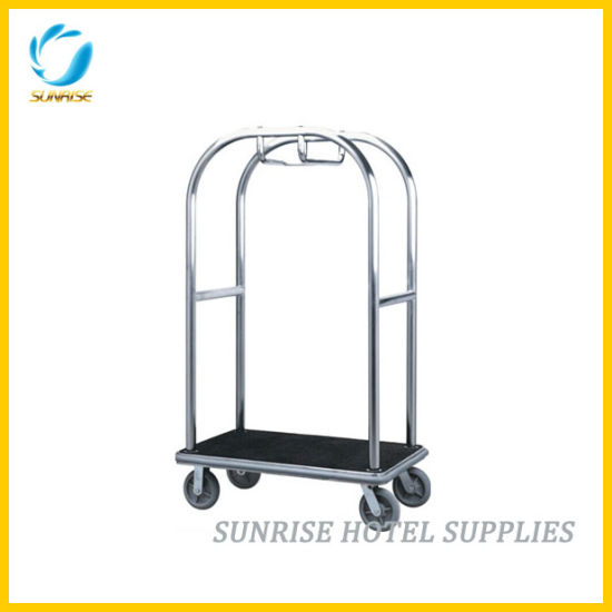 Hotel Bellman Luggage Platform Trolley with Brushed Finish