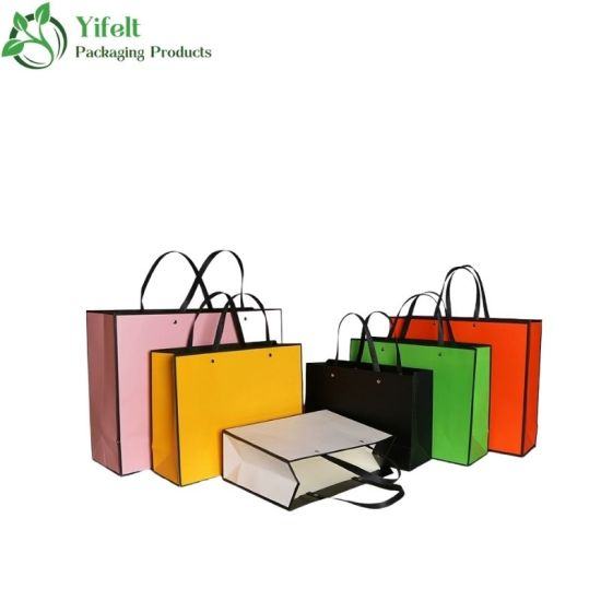 Professional Customized Luxury Paper Gift/Shopping Bag with Rope Handle & Grosgrain Ribbon