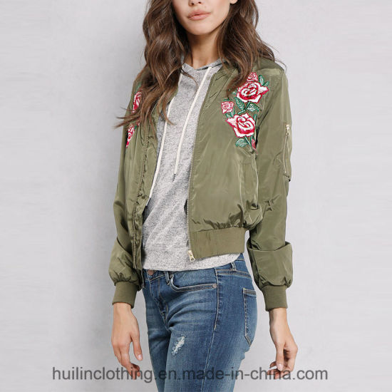 09d03dff33e China Best Seller 2018 Floral Embroidered Bomber Jacket - China ...