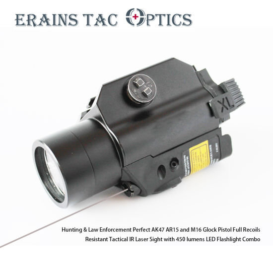 Tactical Rifle and Pistol Invisible IR Laser Sight with 450 Lumens LED Light Combo