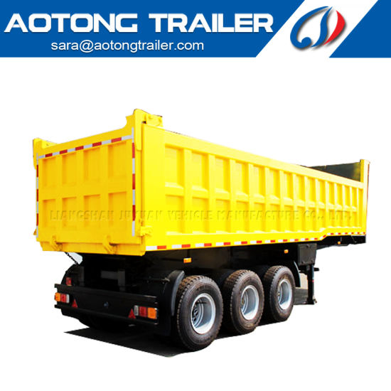 3 Axles 50ton Hyva Hydraulic Cylinder Sand Cargo Transport End Dump Truck Tipper Semi-Trailer Rear Tipping Trailer pictures & photos