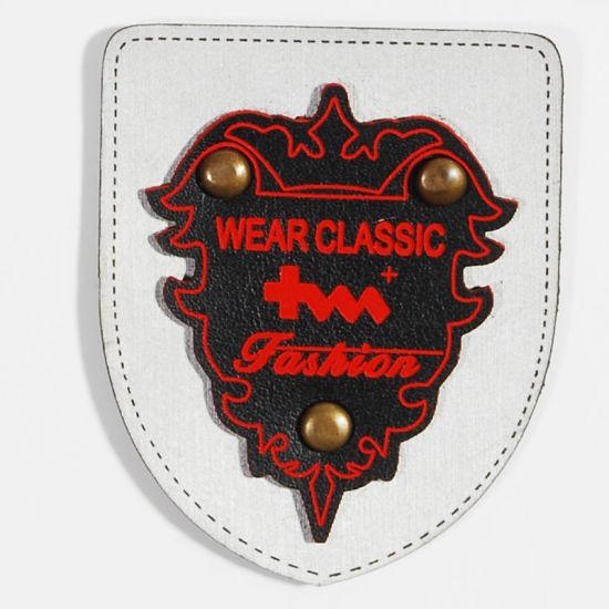 Hot Stamped Garment/Bag Label Metal Leather Badge