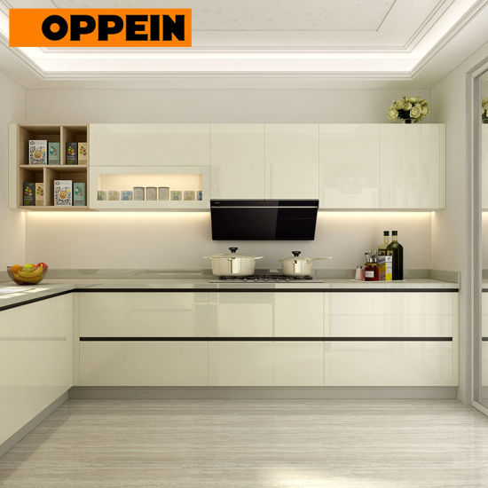 China Soft Close And Push To Open Handle Less Glossy Lacquer Kitchen Cabinets Op18 L01 China Handle Less Kitchen Cabinet Glossy Kitchen Cabinet