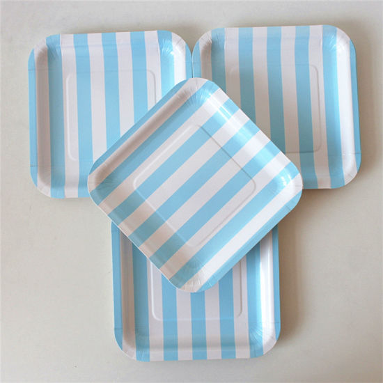 Disposable Square 7\  Light Blue Striped Paper Plates for Party & China Disposable Square 7\