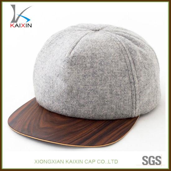 9f4982938f317 China Custom Blank Plain Wooden Brim Wool Snapback Hat Cap - China ...