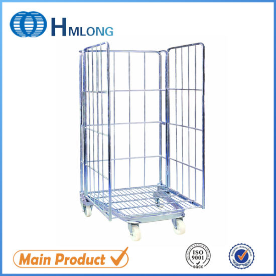 European Supermarket Foldable Nesting Mesh Roll Container Trolleys pictures & photos