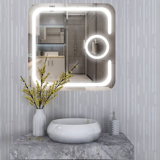 Square Wall Mounted Frameless Led, Bathroom Vanity Mirror With Lights