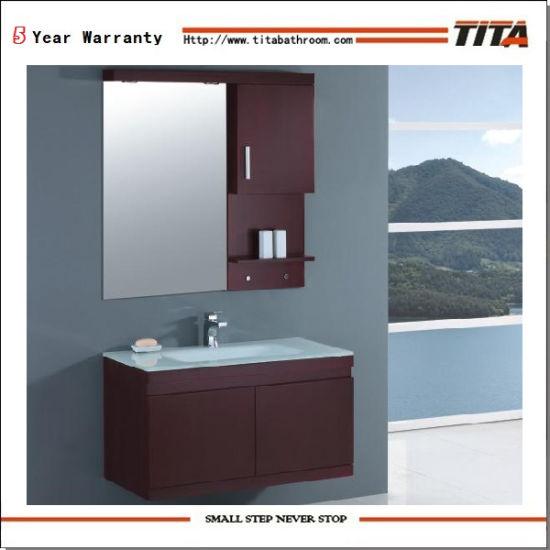 Solid Wood Bathroom Furniture/Glass Bathroom Cabinet/Modern Bath Vanity (T9108)