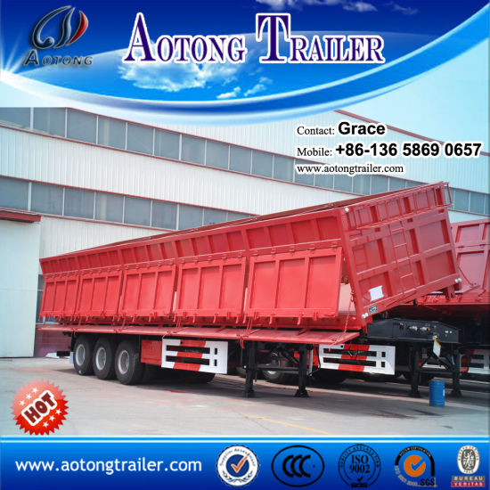 China Factory 3 Axles 20-40cbm Tractor Hydraulic Cylinder Dump Trailer, Tipping Trailer, Tipper Trailer for Sale pictures & photos