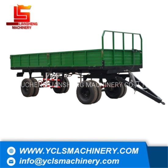10tons Agricultural Trailer Double Axles with Air Brake and ISO9001 National Standard