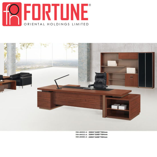 Dark Brown Melamine Executive Table Modern Office Desk (FOH AM3521 A)