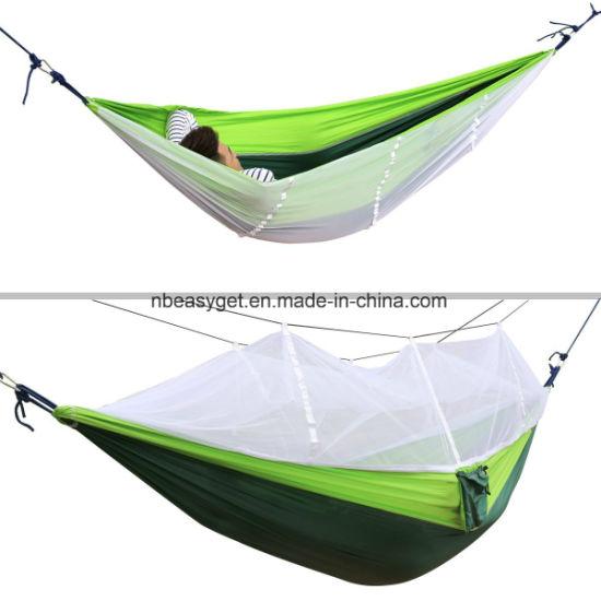 Camping Hammock, Trofong Double Hammock Mosquito Net Nylon Fabric Hammock for Beach, Traveling, Hiking, Mountain, Adventure, Outdoor Jungle Esg10274