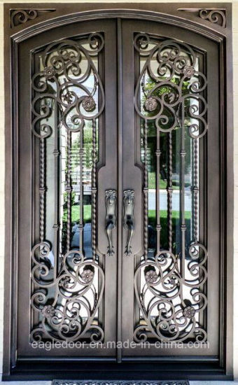 Manufacturer China Direct Price Wrought Iron Front Door Exterior Entry Metal Doors Ei 028