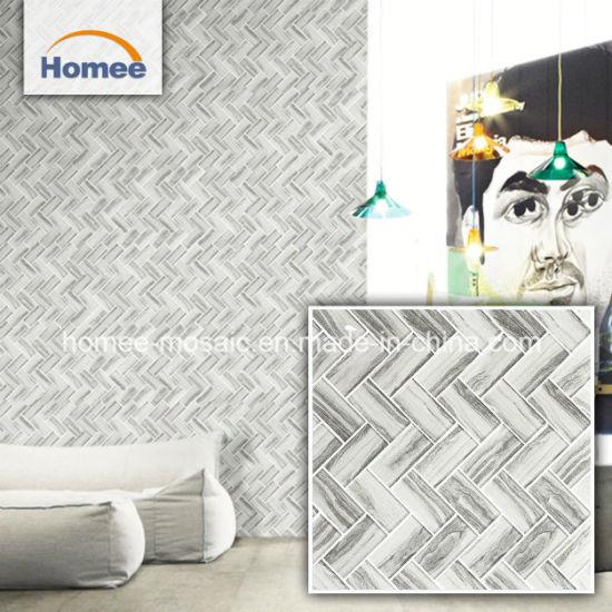 China Grays Art Deco Herringbone Glass Wall Mosaic Tiles For - Art deco mosaic tile patterns