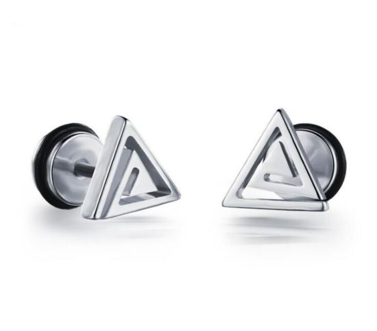 Fashion Black Gold Silver Triangle Anium Steel Ear Studs Men Women Stud Earrings Cool Jewelry Boucle D Oreille
