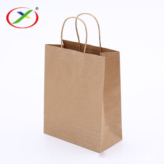 Wholesales Custom Logo Printed Cheap Recycled Take Away Food Packaging Shopping Brown Paper Bag with Twisted/Flat Handles
