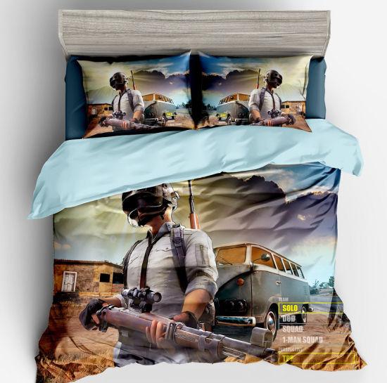 100% Microfiber Wholesale 3D Bedding Set Pubg 4piece Printed Bed Sheet Set