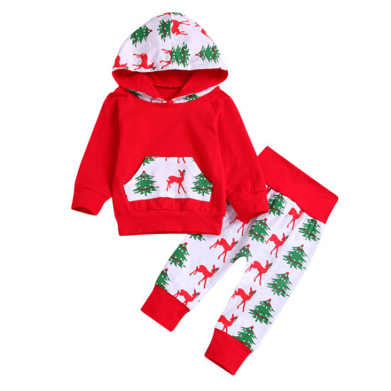 Bkd 100% Cotton Christimas Pattern Kids Hoodie Xmas Clothes Set