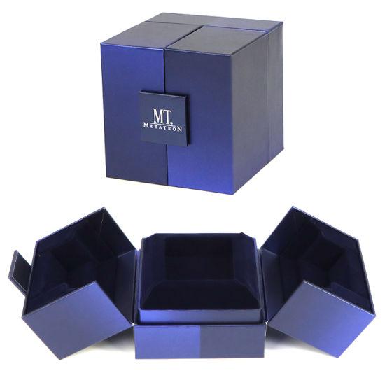 Firstsail Double Open Door Luxury Unique Single Paper Watch Box Velvet Inside Jewellery Wedding Ring Earrings Necklace Gift Packaging
