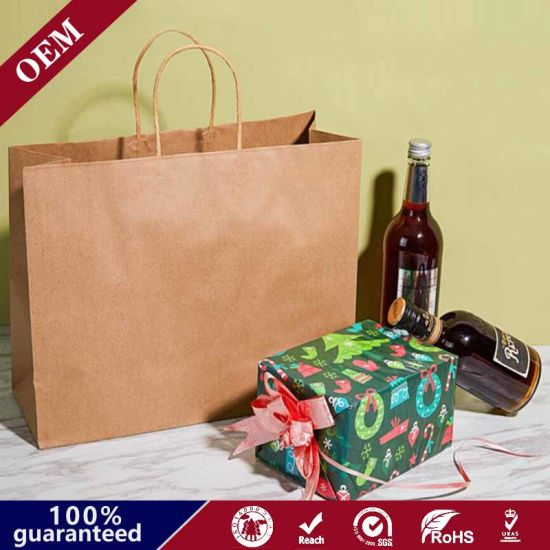 Big Side Gusset Big Bottom Recyclable Brown Kraft Paper Bag with Custom Shopping Paper Bag for Food with Twist Flat Handle