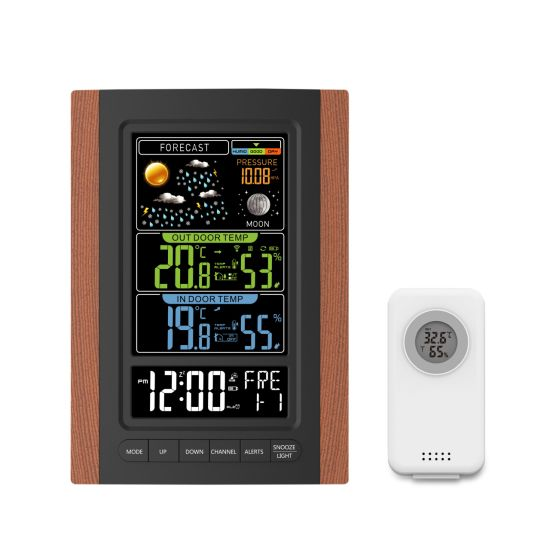 Color Display Wired Weather Station Digital Weather Forecast Alarm Clock with Humidity Display