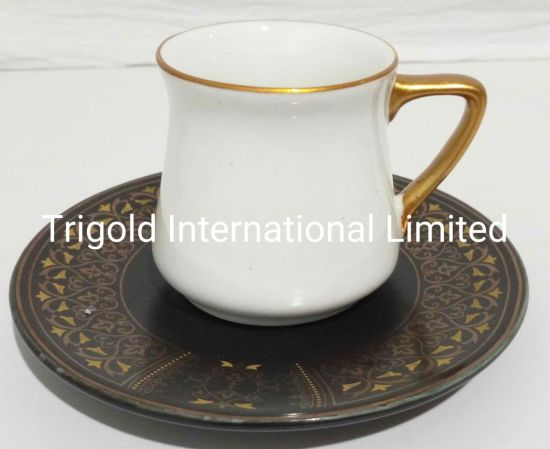 Small Espresso Cups and Saucers, Set of 6 Demitasse Cups with Gold Trim and Gift Box, Small Coffee Cup, White Espresso Cup Set, Turkish Coffee Cup