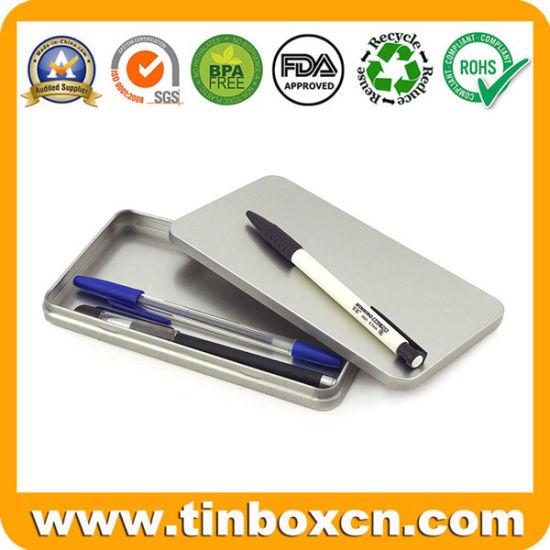 Rectangular Slim Tin Box Silver Metal Pencil Case