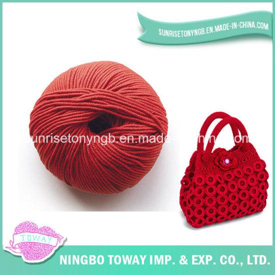 Slub Wool Red Cotton Acrylic Polyester Yarn for Knitting Bag