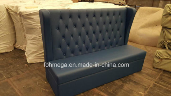 High Quality Black Pu Leather On Tufted Restaurant Booth Sofa